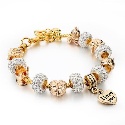 I Love You Swarovski Elements Charm Bangle