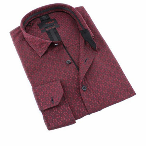 Men's burgundy slim fit digital print collar button up dress shirt