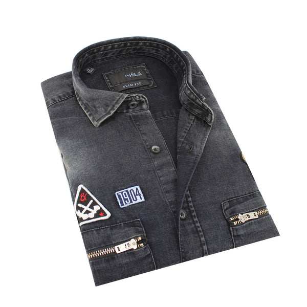 Black 1904 Grizzly Bear Denim  Shirt