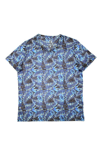 PRINTED BLUE V-NECK T-SHIRT #1643-V