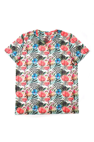 FLOWER PRINT V-NECK T-SHIRT #1647-V