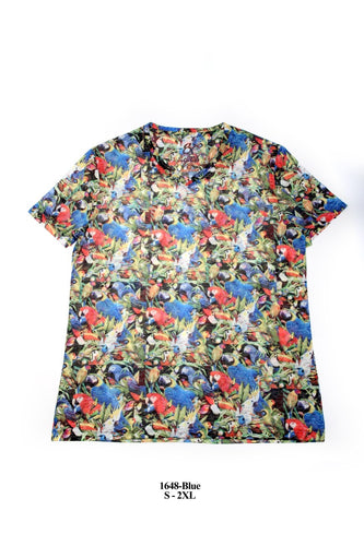 Tropical Parrot Print V-Neck Shirt #1648
