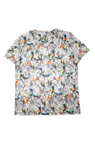 BIRDS PRINT V-NECK T-SHIRT #1649