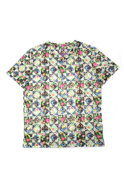 FLORAL MULTI PRINT V-NECK T-SHIRT #1650
