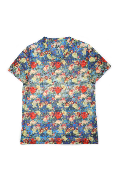 MULTI FLORAL PRINT V-NECK T-SHIRT #1651-V