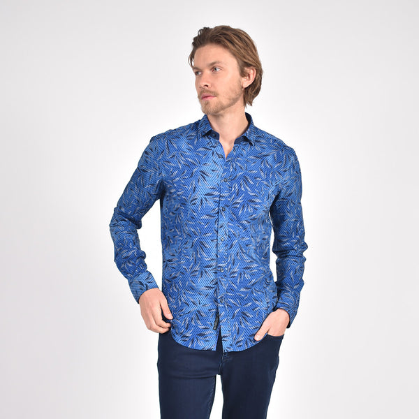 Sax Leaf Flocking Print Shirt
