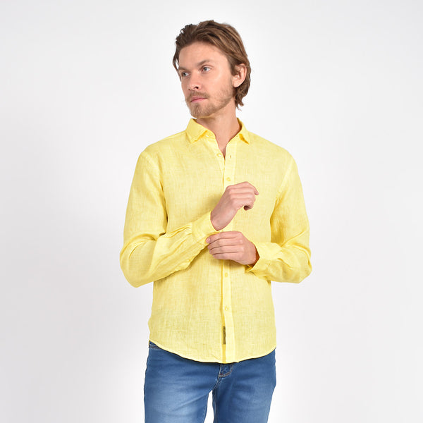 Solid Yellow Linen Shirt