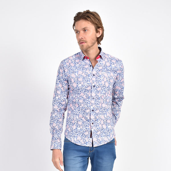 Blue and Red French Baroque Print Shirt