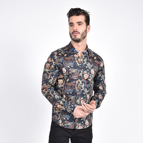 Imperial Dragon Tapestry Print Shirt