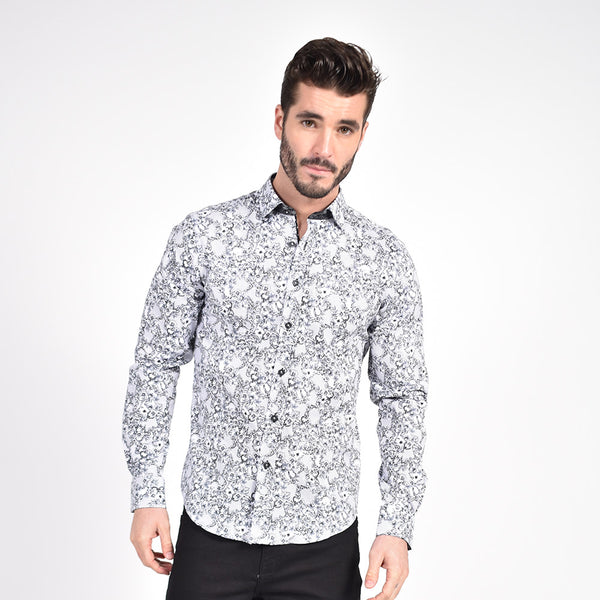 Black French Baroque Print Shirt