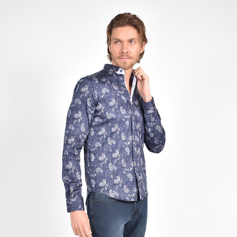 Navy Weave and Paisley Print Shirt