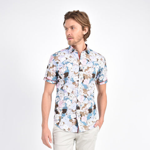 Peony Illustration Print Shirt