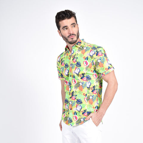 Lime Green Hawaiian Print Shirt