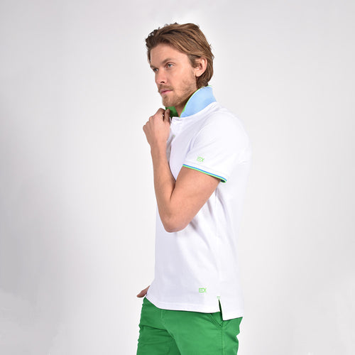 White Polo with Double Sided Green Collar with Blue and White Ribbed Texture