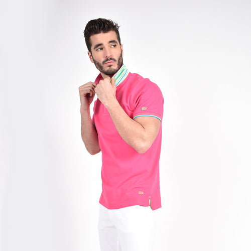 Fuchsia Polo with Double Sided Multi colored Striped Collar