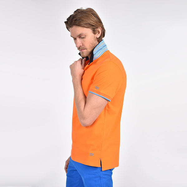 Orange Polo with Double Sided NavyCollar with Multi colored Stripes
