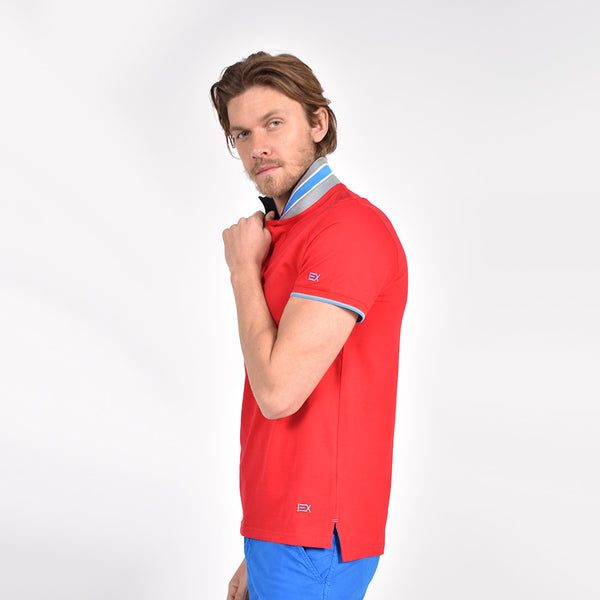 Red Polo with Double Sided Navy Collar with Multi colored Stripes