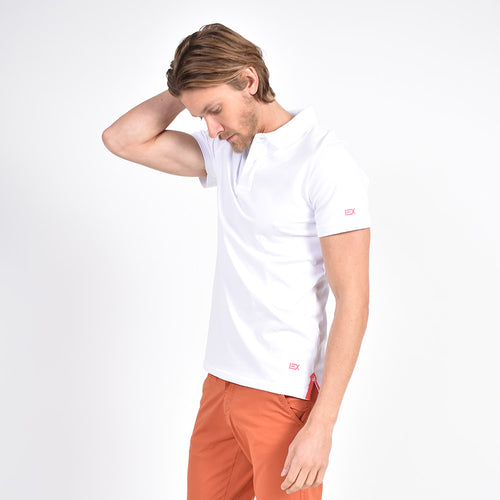 White Polo with Coral EX Logo