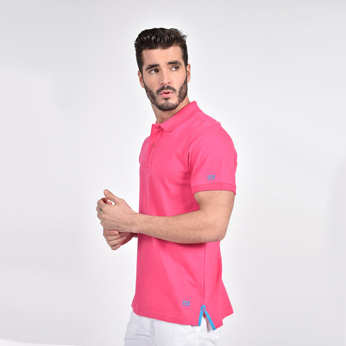 Fuchsia Polo with Blue EX Logo