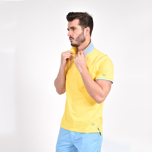Yellow Polo with Double Sided Collar with Blue and White Ribbed Texture