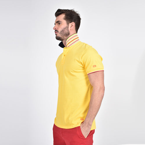 Yellow Polo with Double Sided Navy Collar with Multi colored Stripes