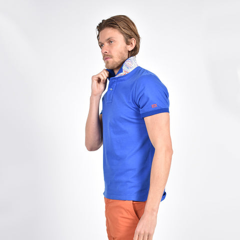 Royal Sax Polo with Double Sided Multi colored Paisley Print Collar