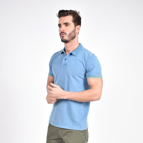 Indigo Jacquard  Polo with Double Sided Print Collar