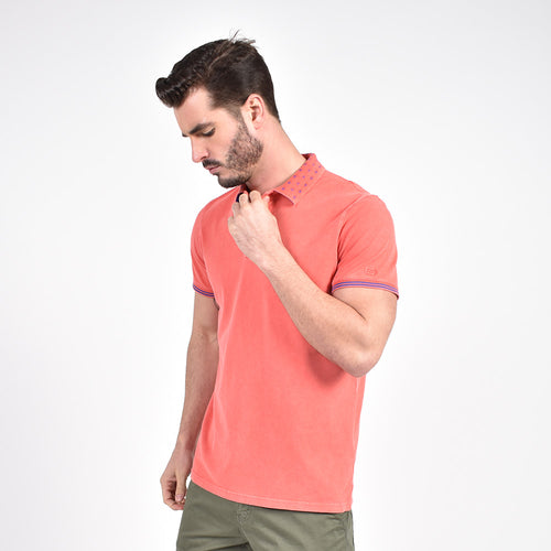 Coral Jacquard  Polo with Double Sided Print Collar