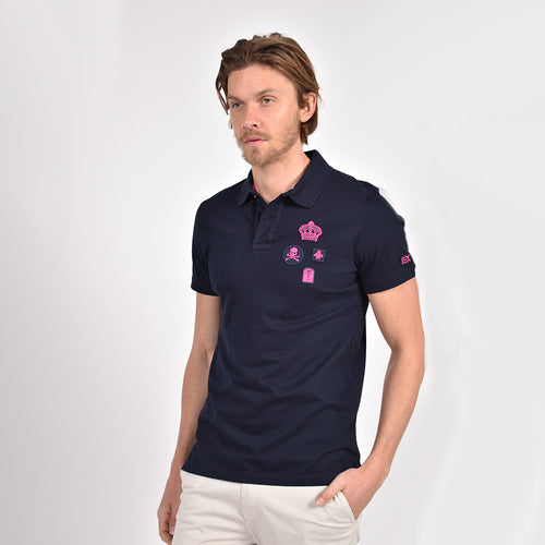 Navy Multi Fuschia Patch Polo
