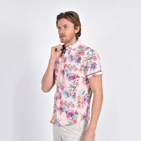 Pink Bird of Paradise Print shirt