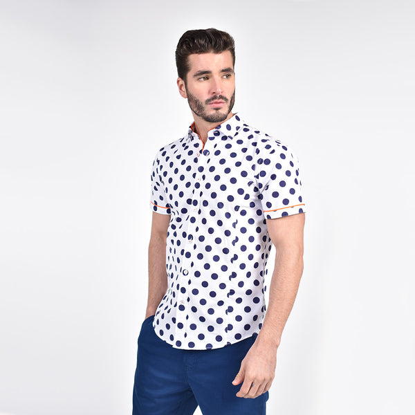 Jet Blue Polka Dot Print Shirt with Orange Trim