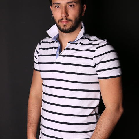 White And Navy Striped Polo With Trim #T-6008