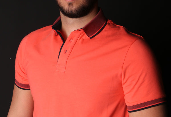 Orange Polo With Contrasting Trim And Collar #T-6010