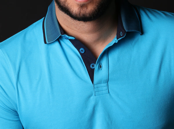 Turquoise Polo W/ Contrasting Trim & Collar #T-6010