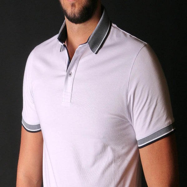 White Polo With Contrasting Collar #T-6010