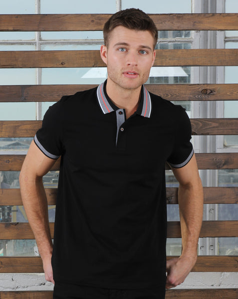 Black Polo With Contrasting Trim And Collar #T-6011
