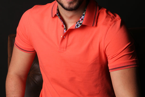 Orange Polo With Colorful Trim In Collar #T-6012