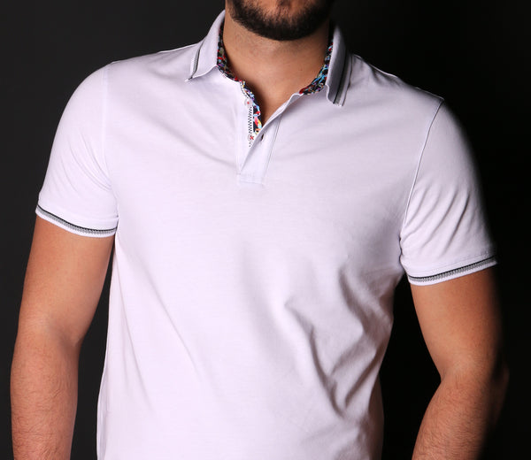 White Polo With Colorful Trim In Collar #T-6012