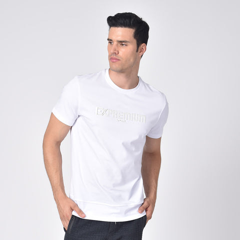 "Model in white, short-sleeve cotton crew-neck with silicone ""EX Premium Sport"" logo on front."
