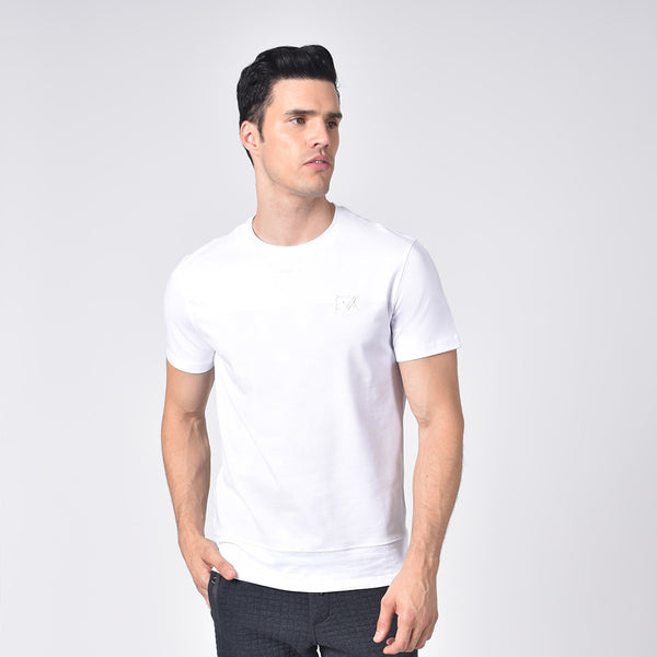"Model in white, short-sleeve cotton crew-neck with light grey stripe print and silicone ""EX"" logo."