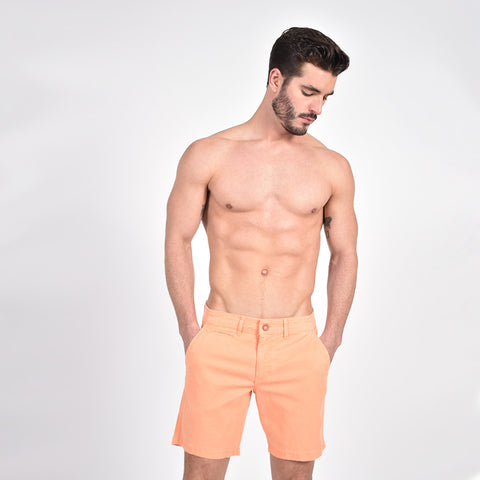 Orange Slim Fit Jacquard Shorts