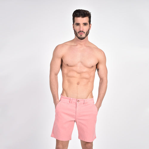 Pink Slim Fit Jaquard Shorts