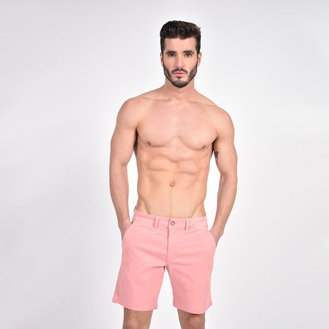 Pink Slim Fit Stretch Jacquard Shorts