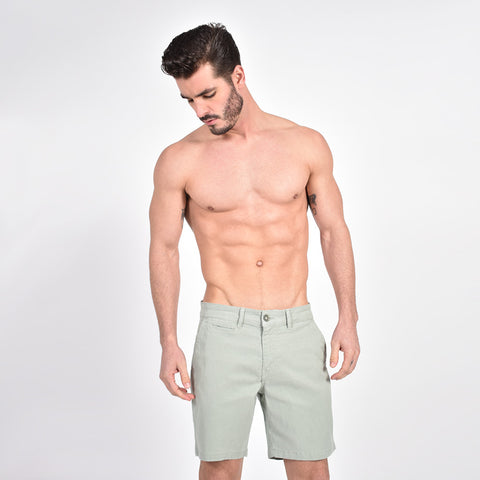 Olive Slim Fit Jaquard Shorts