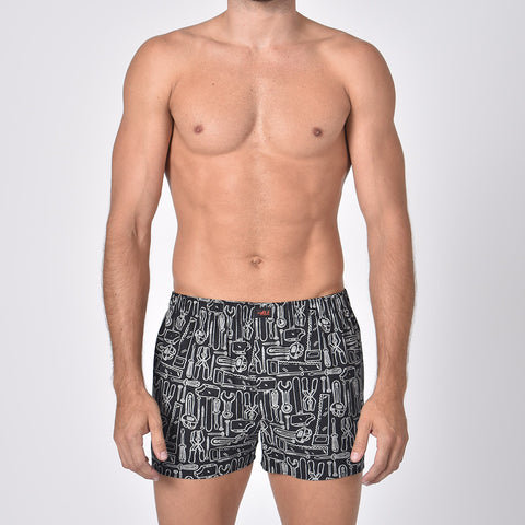 Workshop Print Black Boxers
