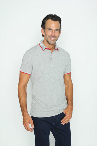 Gray Polo With Red And White Trim #T-7005