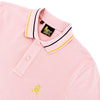 Light-pink polo with tipped collar, two-button placket, and embroidered gold frog mascot.