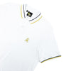 White polo with tipped collar, two-button placket, and striped, ribbed armbands. Featuring embroidered gold frog mascot and embroidered EX Logo on left sleeve.
