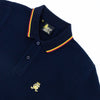 Navy-blue polo with tipped collar, two-button placket, and striped, ribbed armbands. Featuring embroidered gold frog mascot.