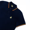Navy-blue polo with tipped collar, two-button placket, and striped, ribbed armbands. Featuring embroidered gold frog mascot and embroidered EX Logo on left sleeve.
